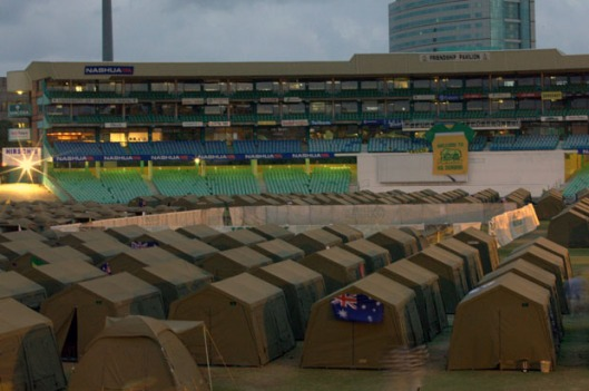 Fanatics tent city in Durban